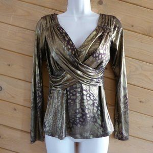 Cache Gold Faux Wrap Long Sleeve Party V-neck Top